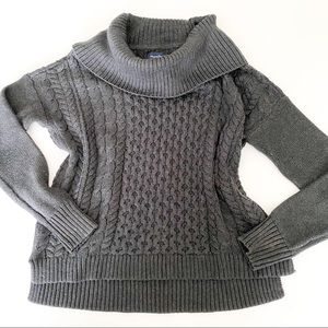 American Eagle gray cable knit cowl neck sweater